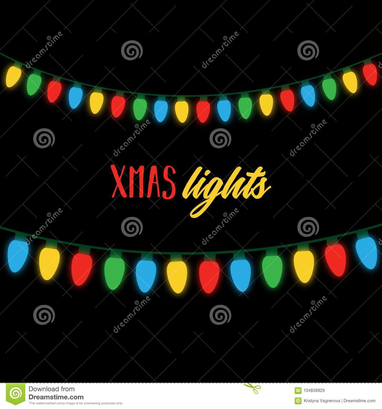 Download Christmas Colorful Lights On String Stock Vector
