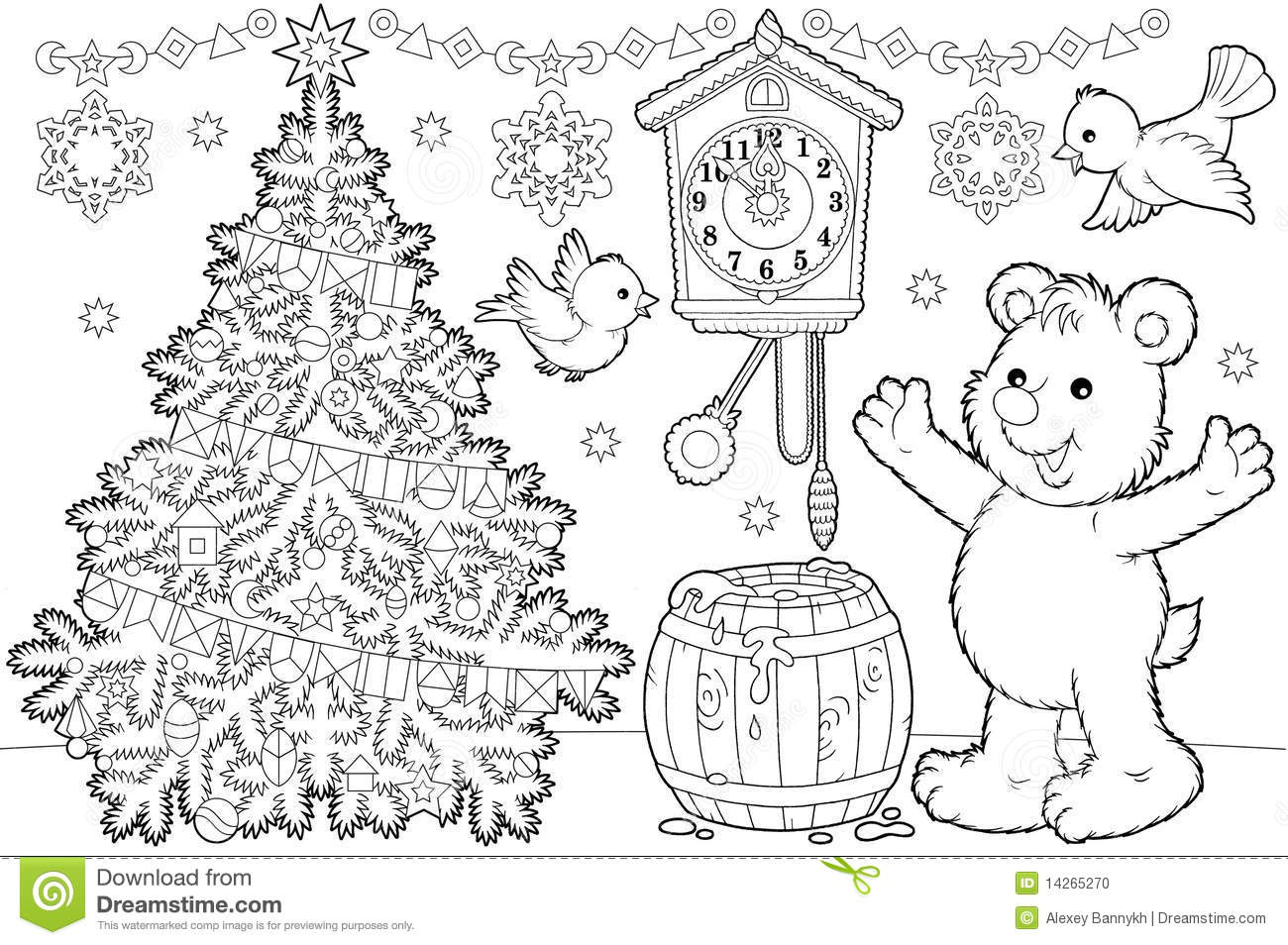 Christmas Coloring Page Stock Illustration Illustration
