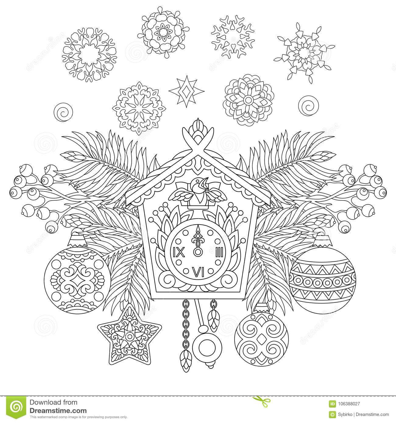 Christmas Decorations With Vintage Wall Clock Stock Vector