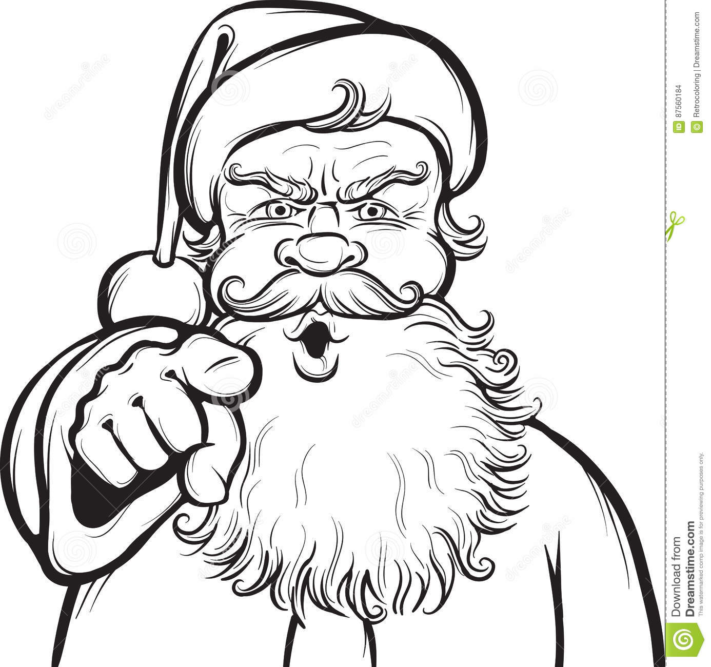 Christmas Coloring Page With Santa Stock Vector - Illustration of ...