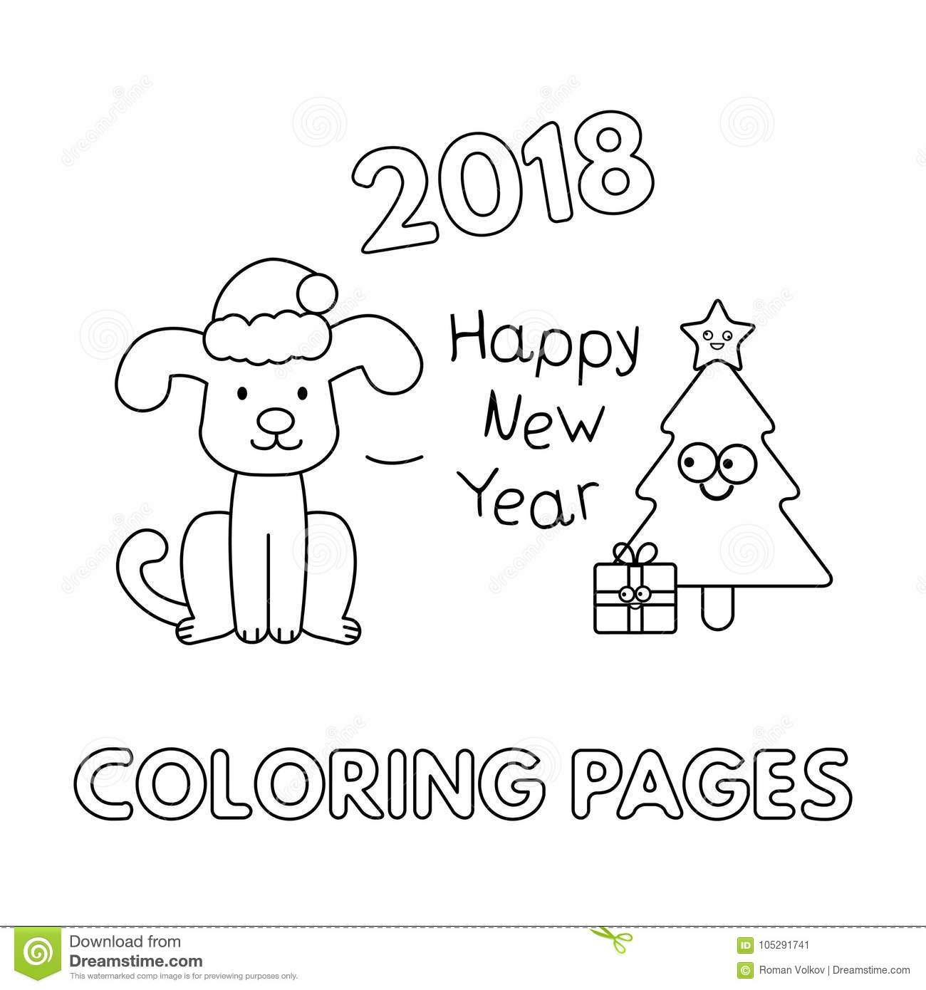 christmas card with cartoon dog and christmas tree vector coloring pages with new year symbol