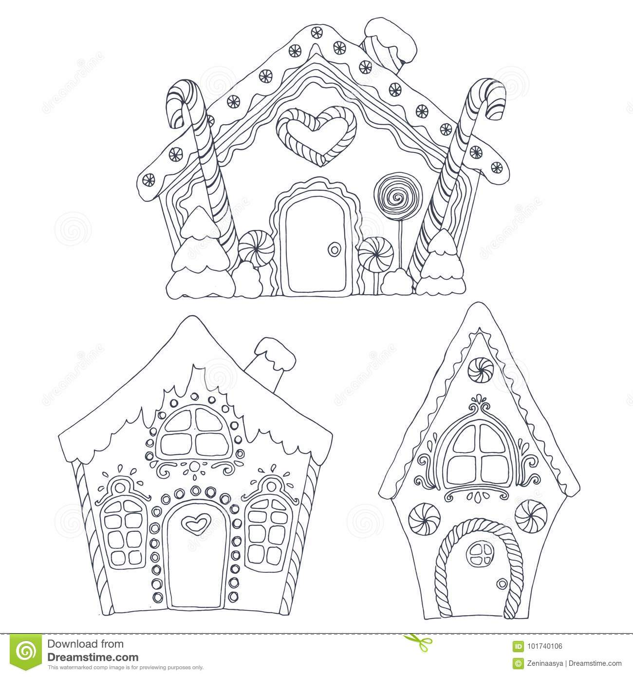 Christmas Coloring Pages Stock Vector Illustration Of Happy 101740106