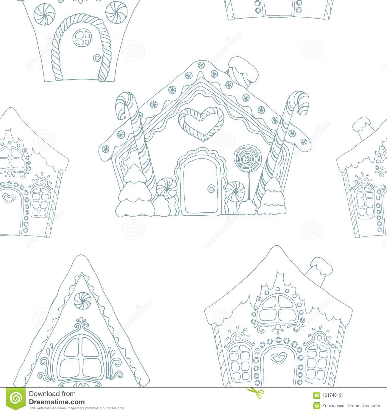 Christmas coloring vector pages seamless pattern with gingerbread houses
