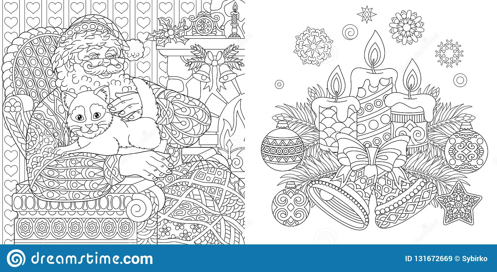 Christmas colouring pages coloring book for adults santa claus with a cat new year background with vintage ornaments