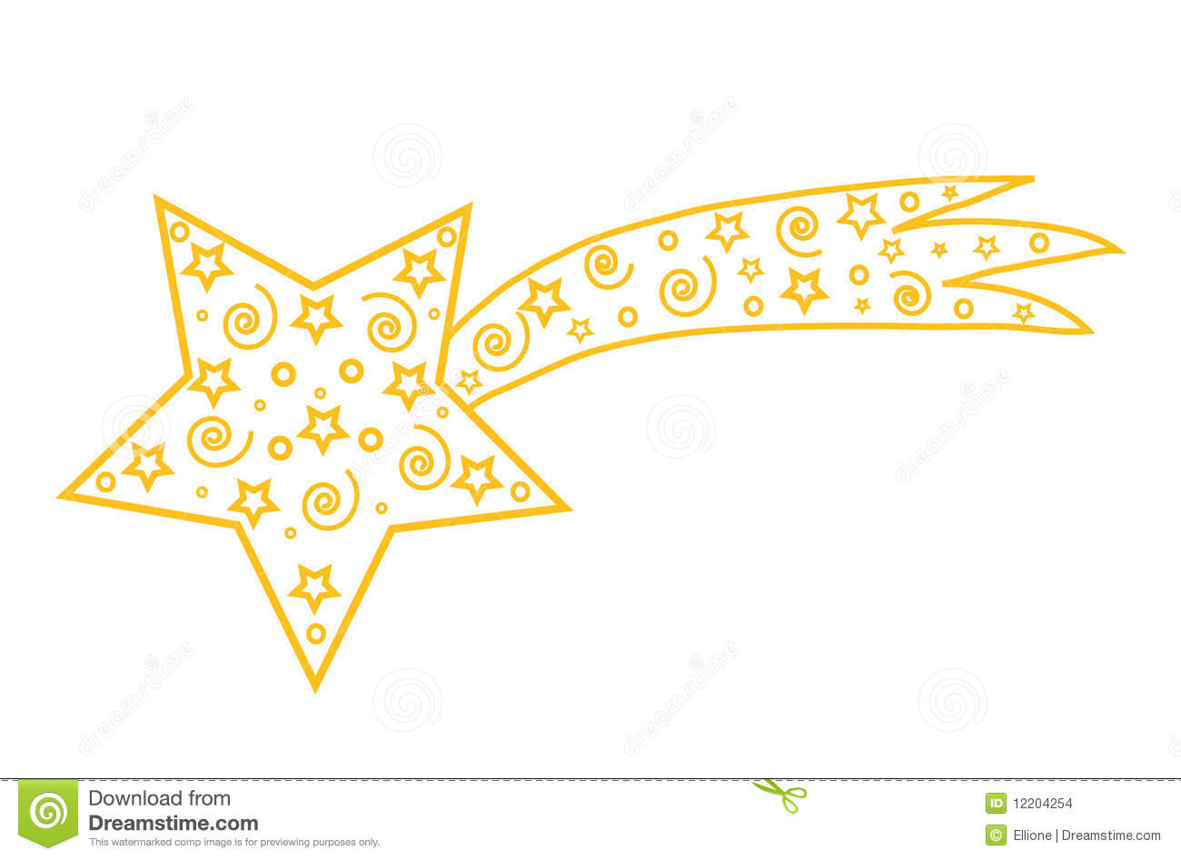 Gold christmas star comet object white isolated place for text
