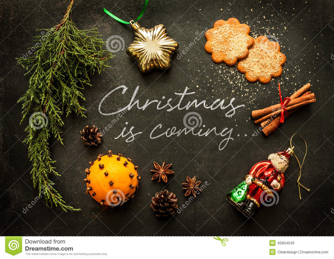 Xmas poster design - Above Black Chalkboard Christmas Coming Cookies Design Ginger Postcard Poster