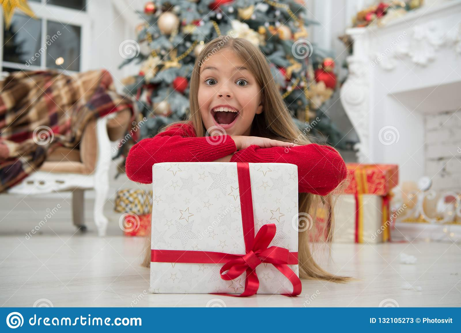 Christmas Is Coming. Small Cute Girl Received Holiday Gift ...