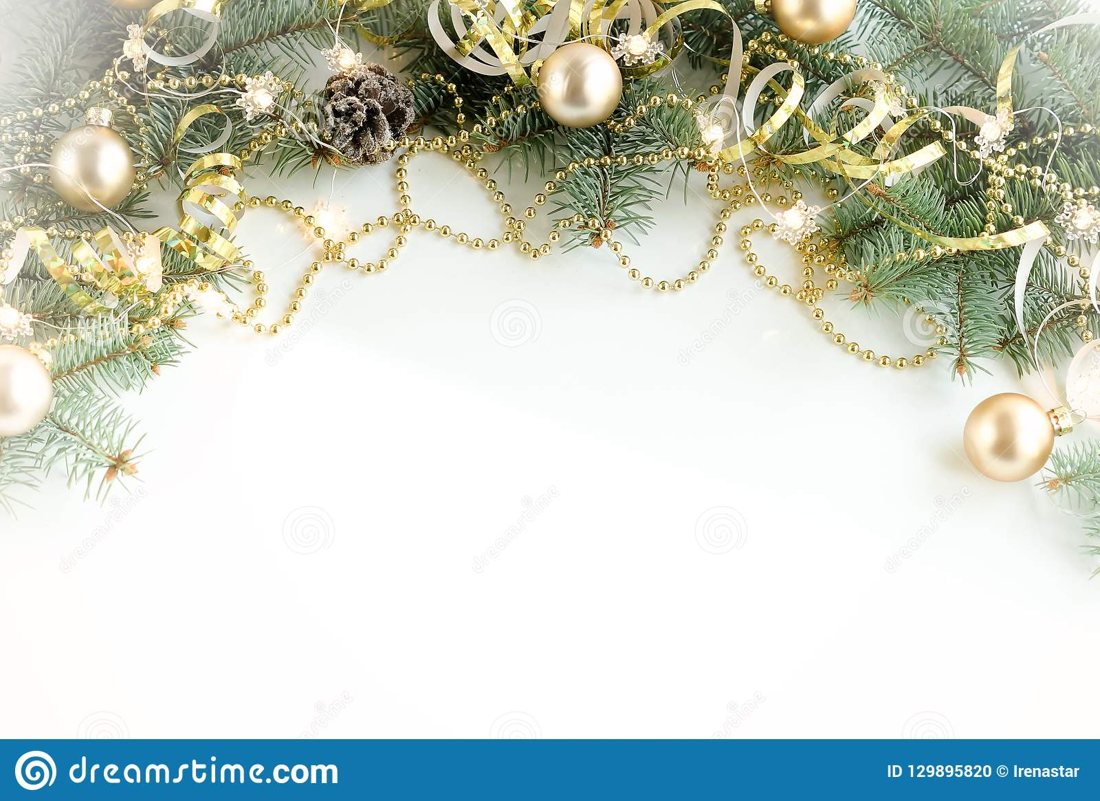 Christmas Composition Background From Christmas Tree Branches And Gold Blue Decorations Stock Photo Image Of December Composition 129895820