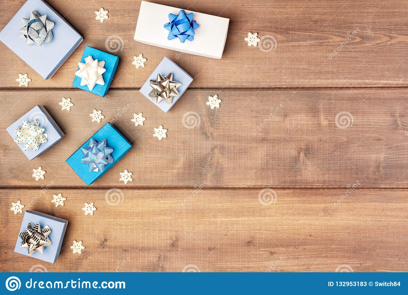 Christmas Composition With Copy Space On Wooden Background In The
