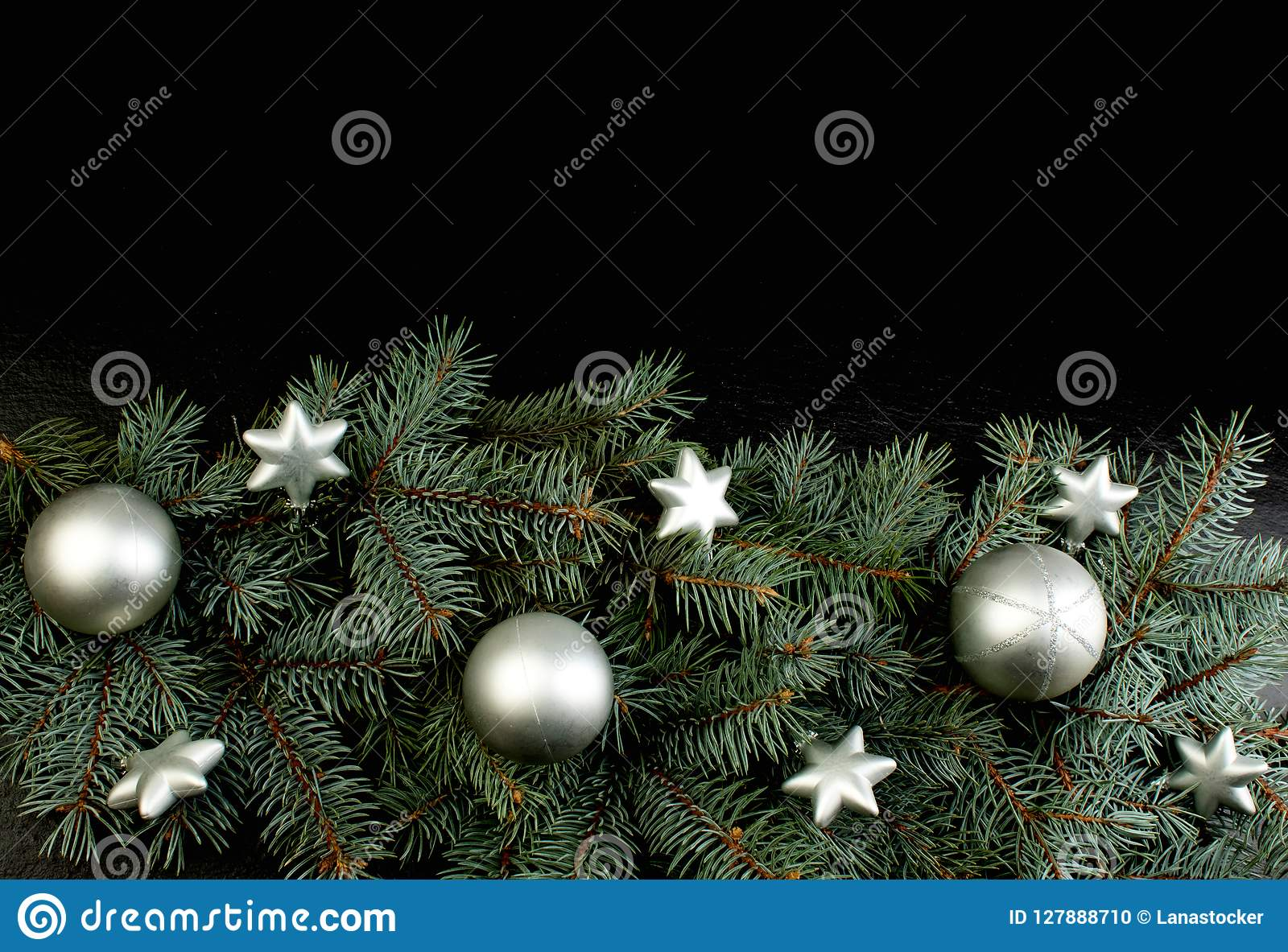 Christmas Composition Of Fir Branches And Christmas Tree Decorations