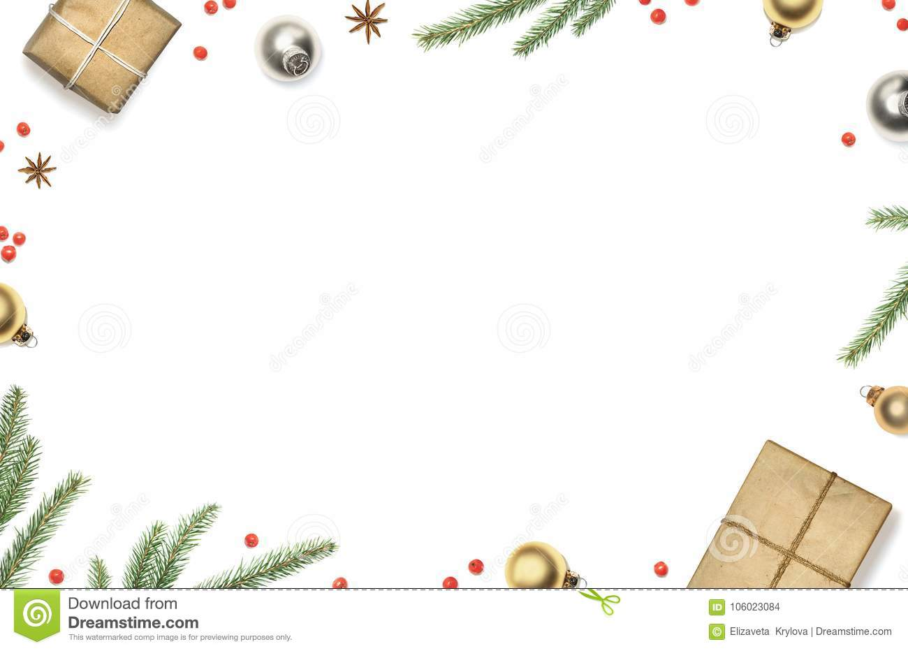 Christmas Composition With Gift Boxes Decorations Christmas Tree Branches And Red Berries Framed White Background Top View Stock Photo Image Of Branch Gold 106023084