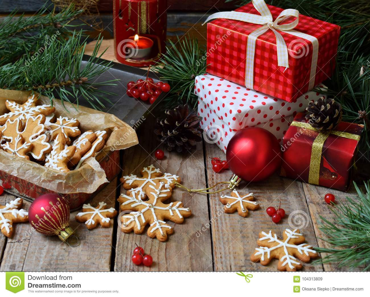 Christmas Composition With Gingerbread Cookies Gifts Festive