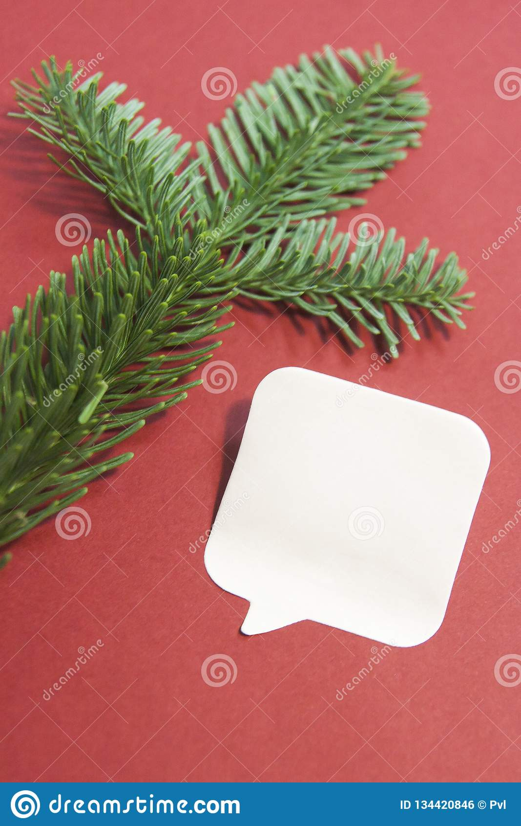 Christmas Composition With Paper Blank, Christmas Tree ...