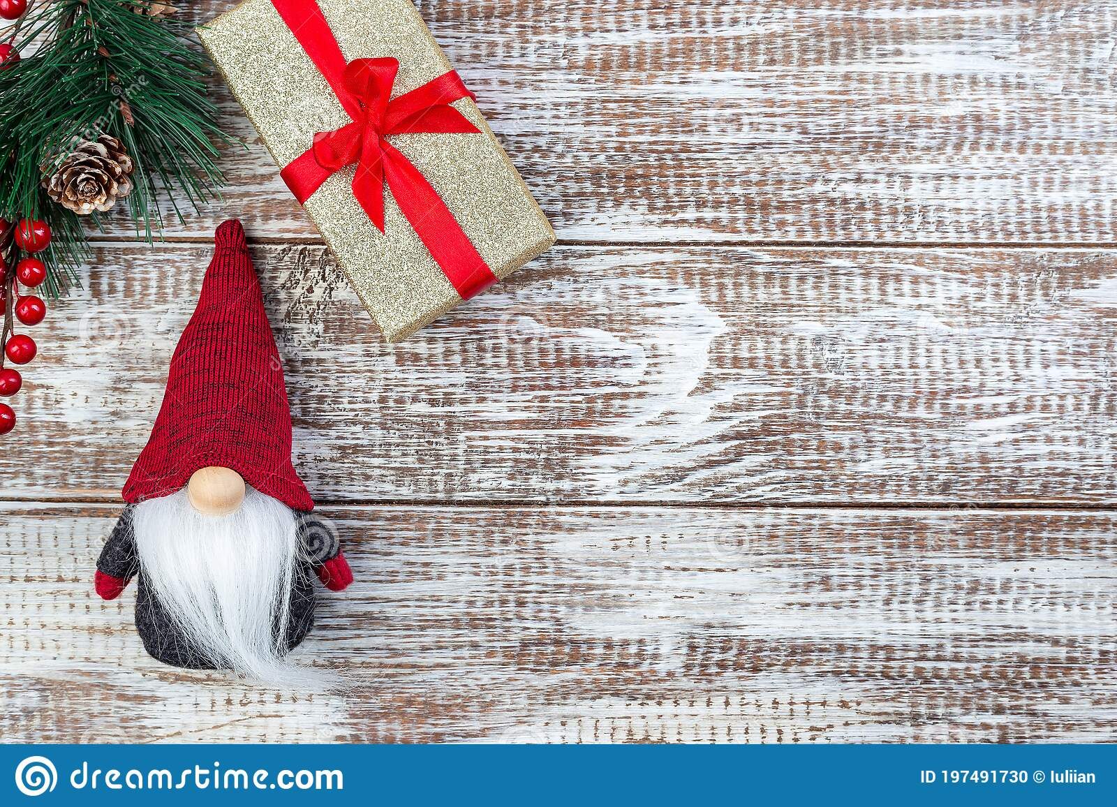 Christmas Composition With Pine Branch Gift Box And Gnome Or Swedish Tomte On Wooden Background Horizontal Copy Space Top Stock Photo Image Of Space Santa 197491730