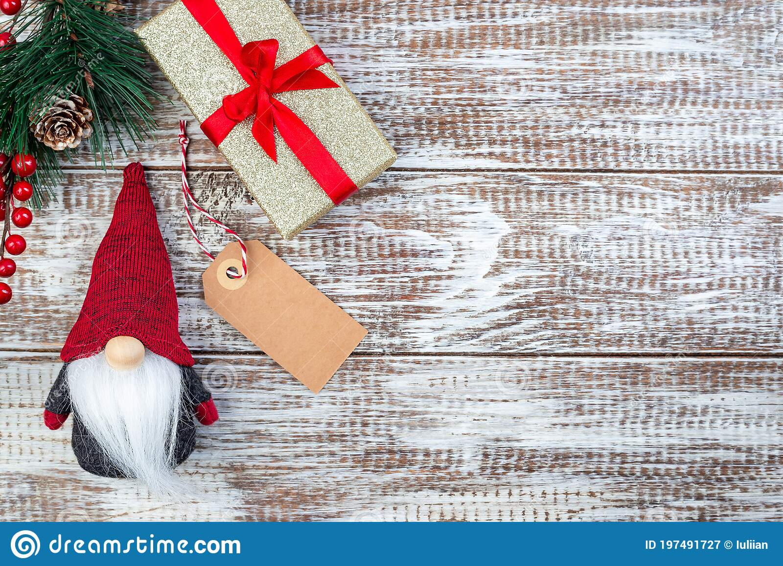 Christmas Composition With Pine Branch Gift Box Shopping Tag And Gnome Or Swedish Tomte On Wooden Background Horizontal Copy Stock Image Image Of Kind Decoration 197491727