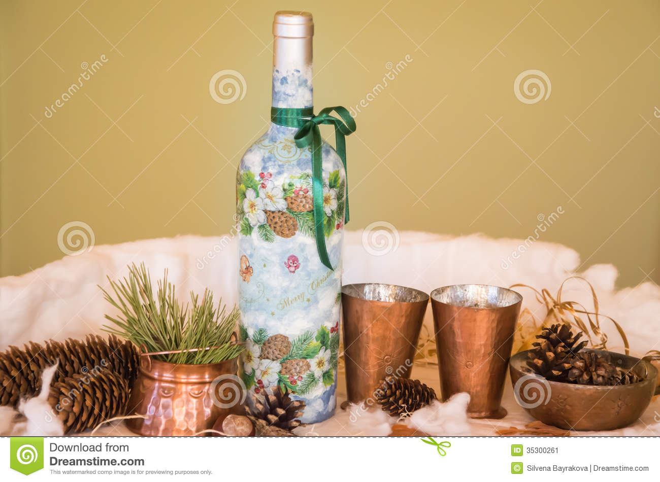 A christmas composition stock image image 35300261 for Wine bottle decorations handmade