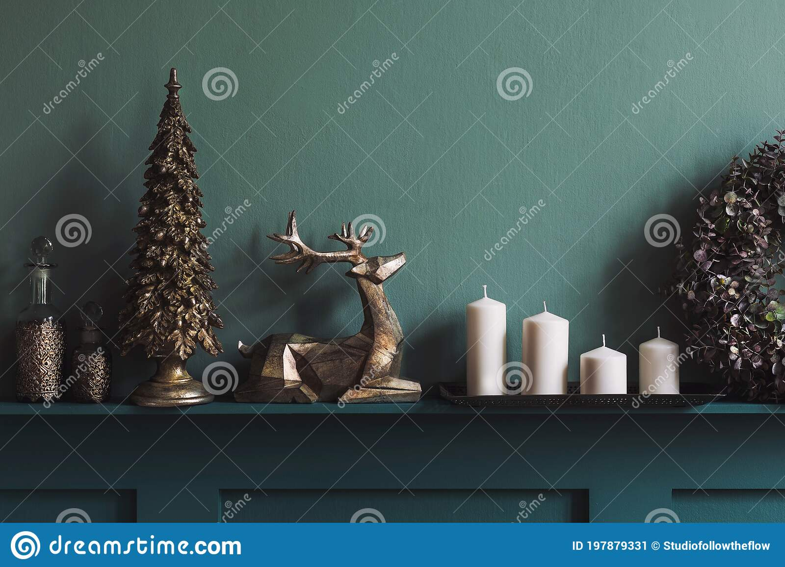 Christmas Composition On The Green Velvet Pouf In Living Room Beautiful Decoration Christmas Trees Candles Stars Lights Stock Image Image Of Fire Joyful 197879331