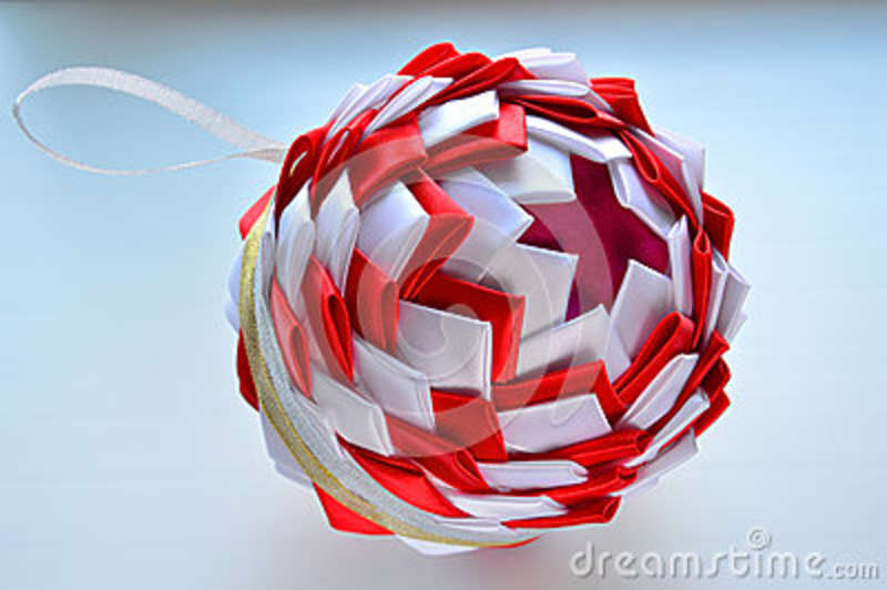 Christmas Composition Styrofoam Ball Decorated With Satin Ribbons