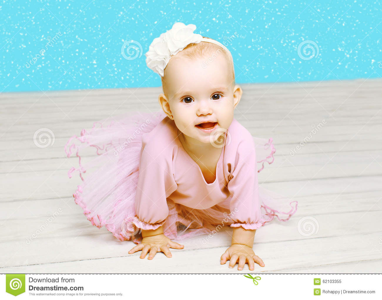 Christmas Concept Beautiful Baby Little Girl In Pink
