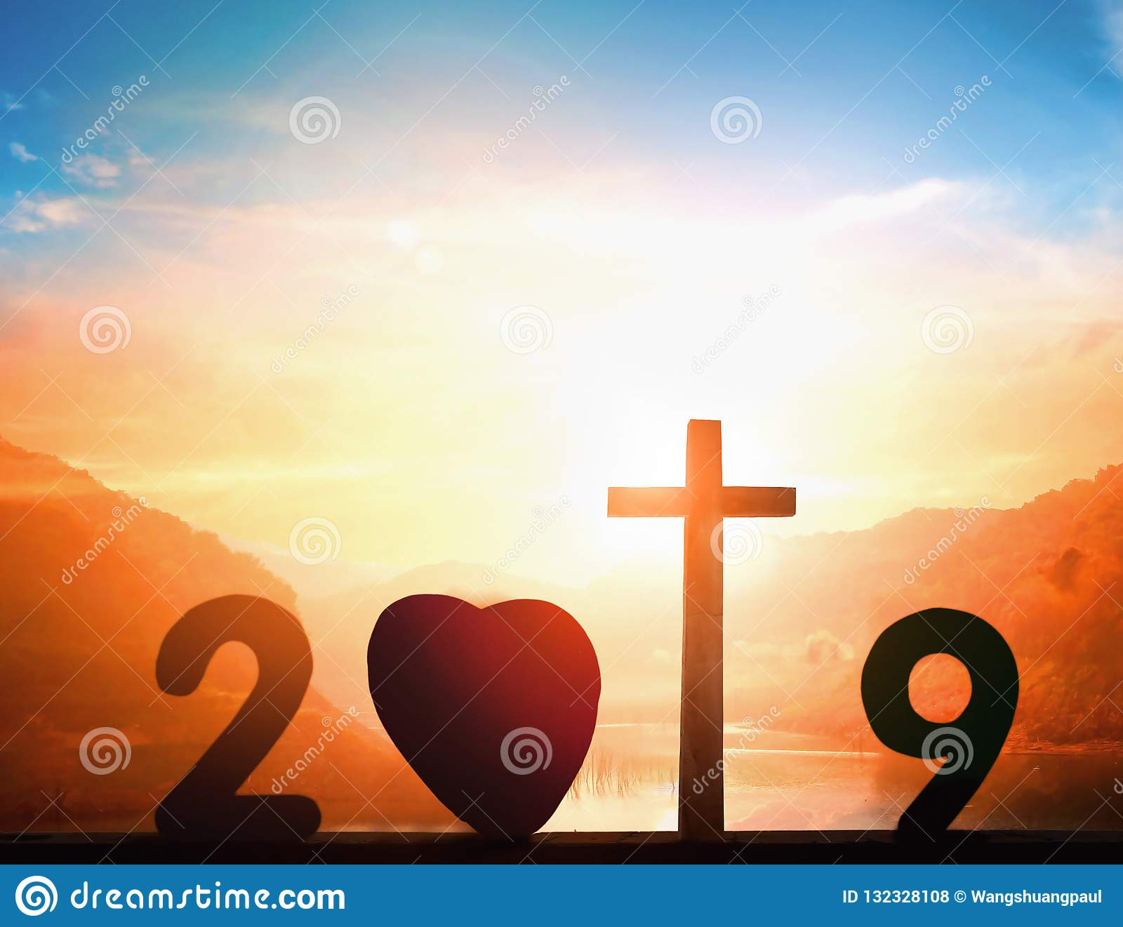 Christmas On Sunset 2019 2019 Christmas Concept: Cross Of Christ Jesus On Sunset Background