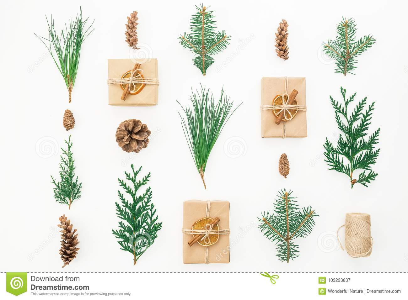 Christmas Concept. Gift Box, Winter Plants And Cones On White ...