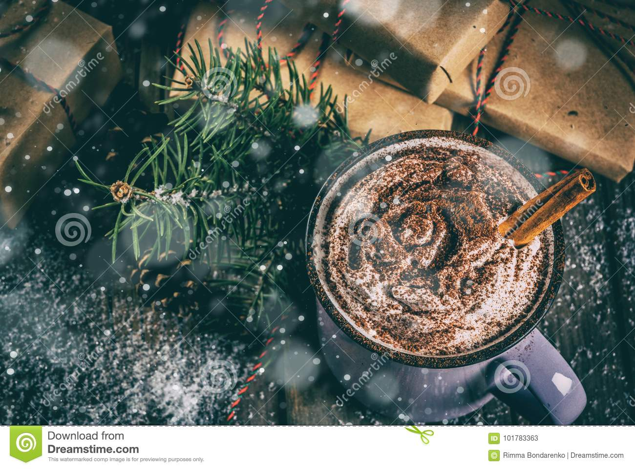 Hot Chocolate And Christmas Gifts Stock Image - Image of foam ...