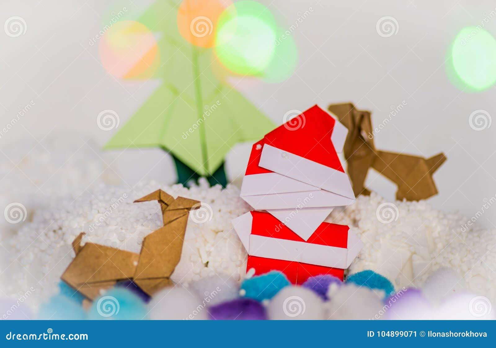 Santa Clausxmas Tree And Reindeers Christmas Paper Craft Stock