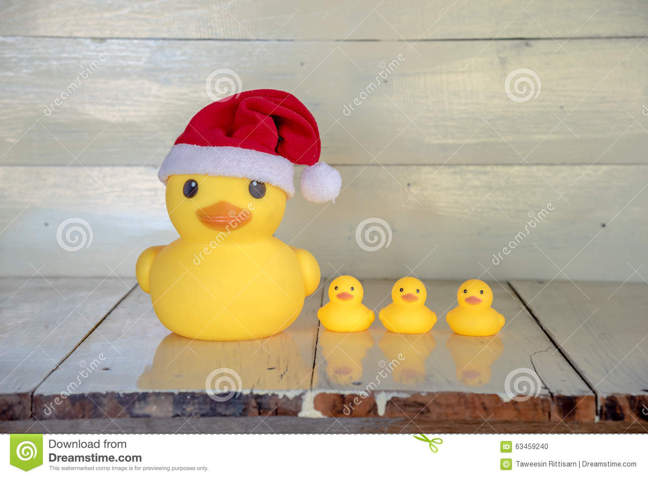 download christmas concept rubber yellow duck wear santa clause hat stock photo image of - Christmas Duck