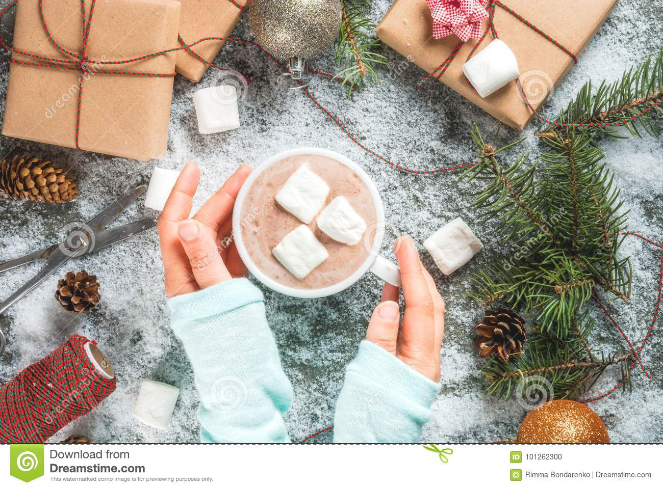 Girl Hand With Christmas Gifts And Hot Chocolate Stock Photo - Image ...