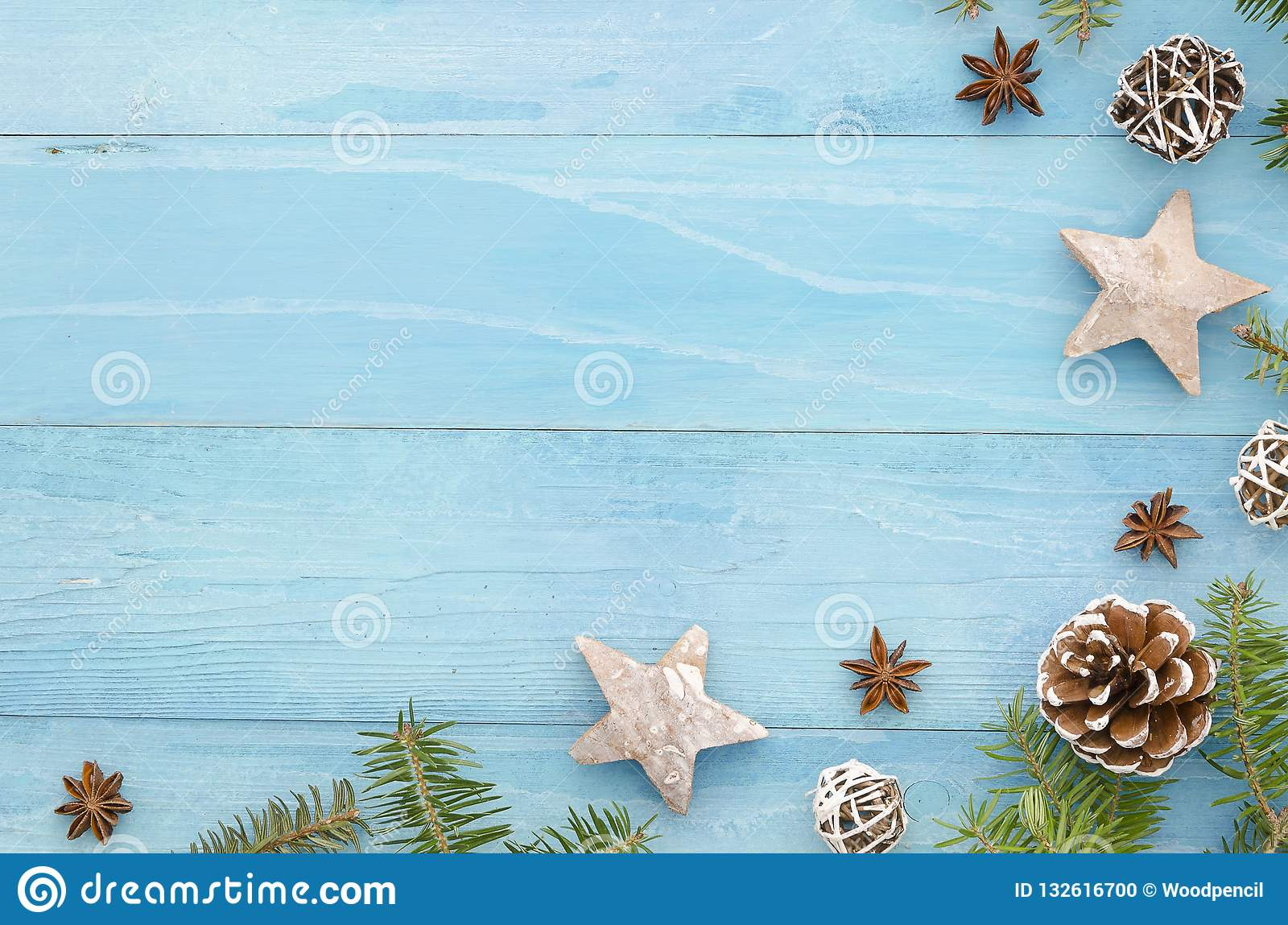 Christmas Coner Frame Rustic Blue Wooden Panks With Christmas Tree Anice Star Pine Cones And Fir Tree Winter Holiday Stock Photo Image Of Decoration Frame 132616700