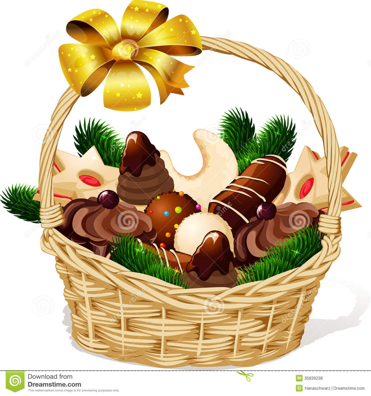 Clip Art Christmas Basket : Christmas cookie in basket royalty free stock photos