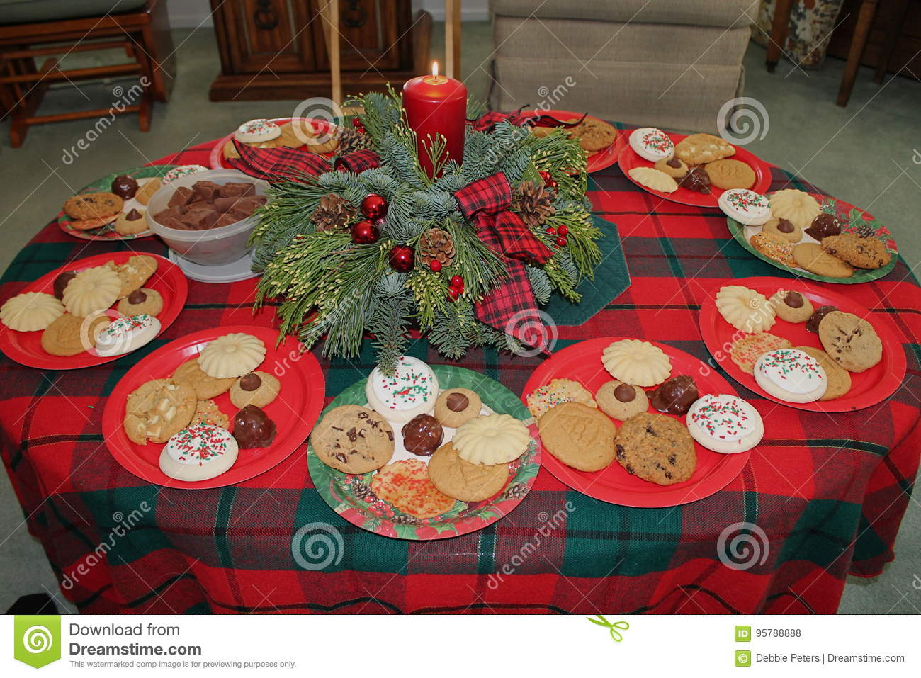 Christmas cookie exchange and gifts stock photo image of