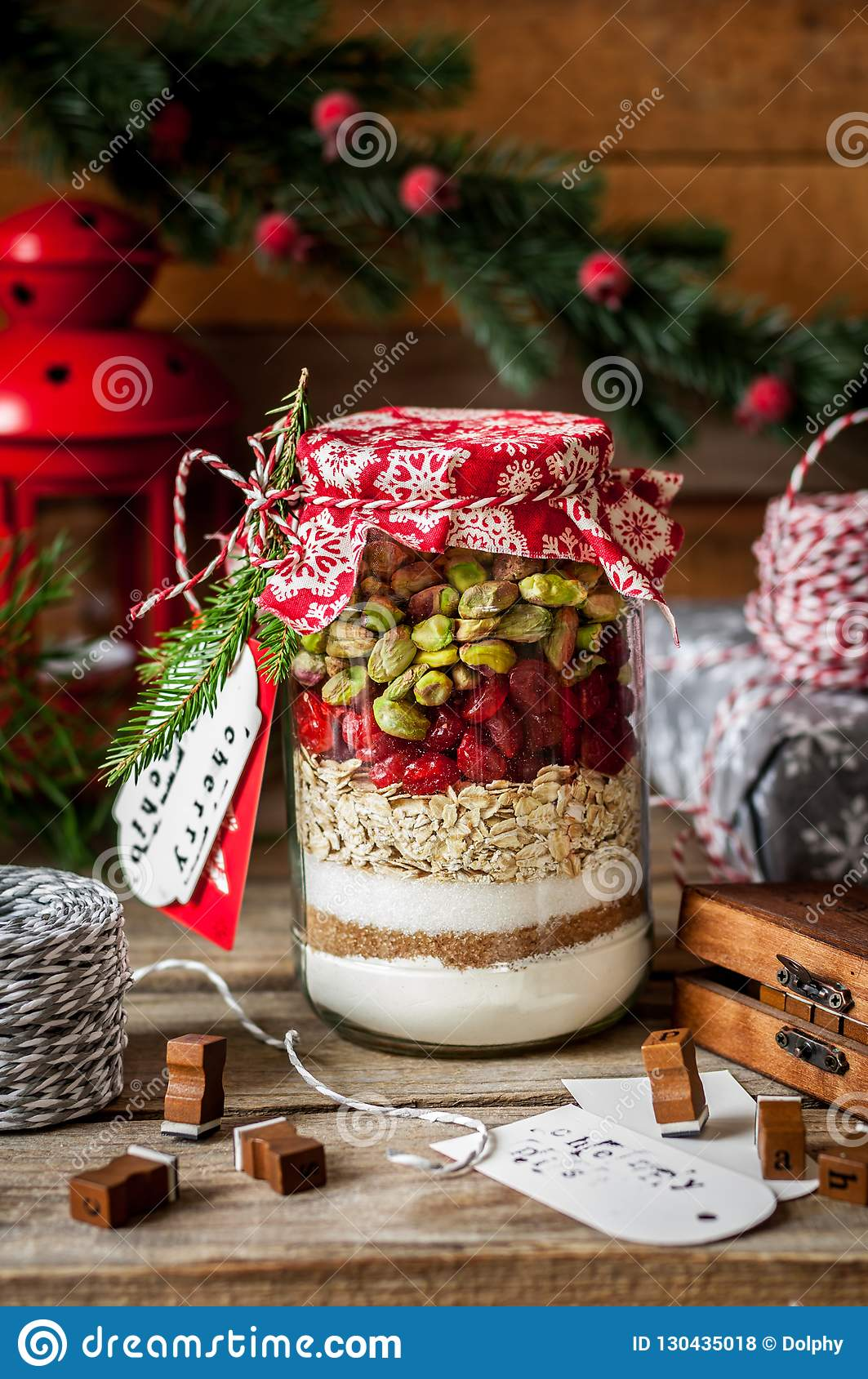 Christmas Cookie Mix In A Jar Stock Photo Image Of Mason Dough