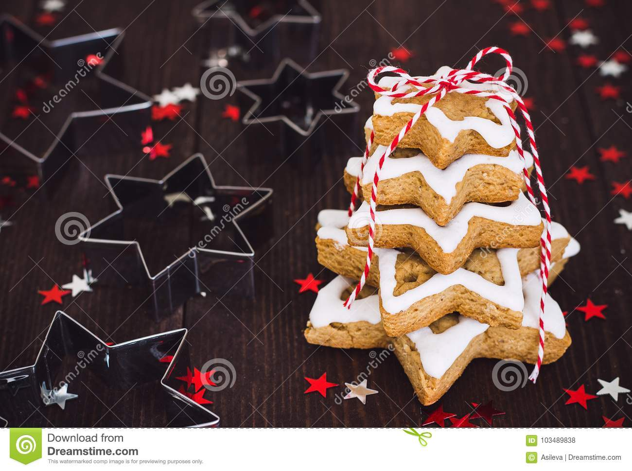 Christmas Cookie Tree Made With Star Cookie Cutter Gingerbread New