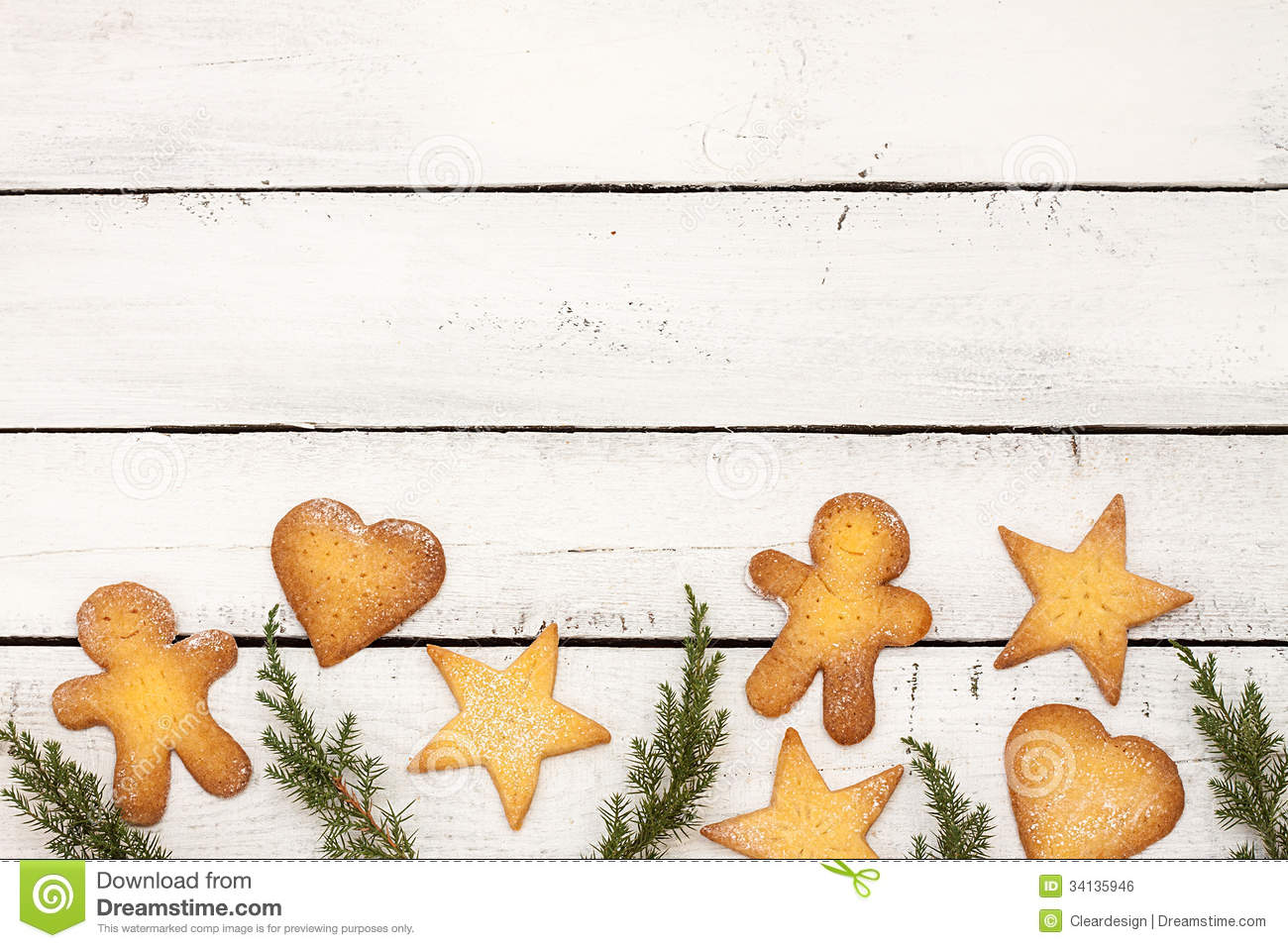 Christmas Cookies Background With Free Text Space Stock Photo