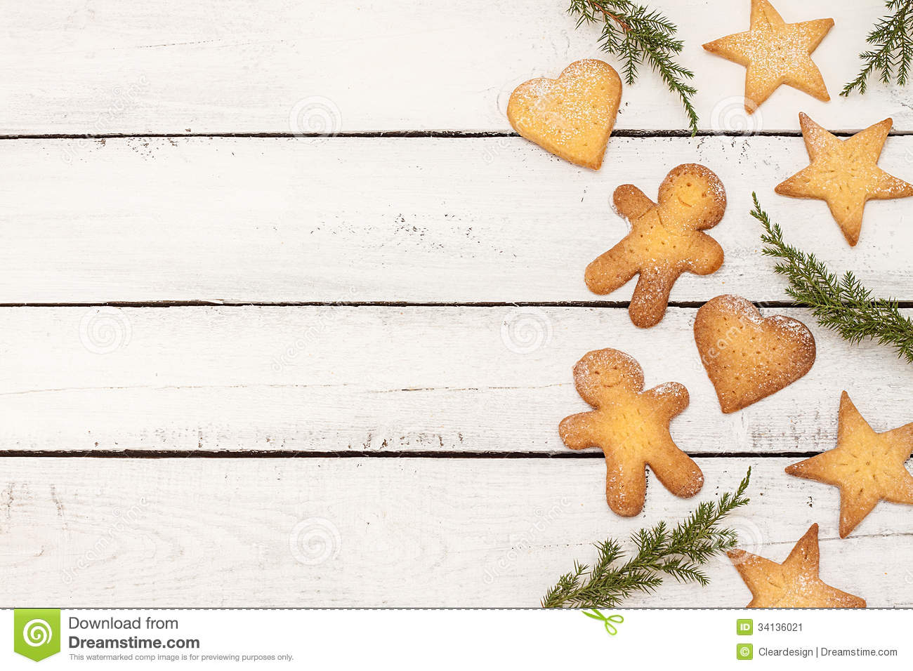 Christmas Cookies Background With Free Text Space Stock