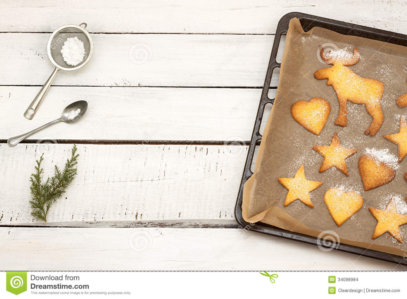 Christmas Cookies On A Baking Tray With Free Text Space