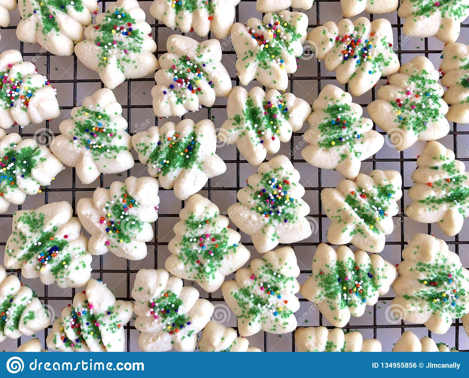 Holiday Spritz Cookies Stock Photo Image Of Tree Christmas 134955856