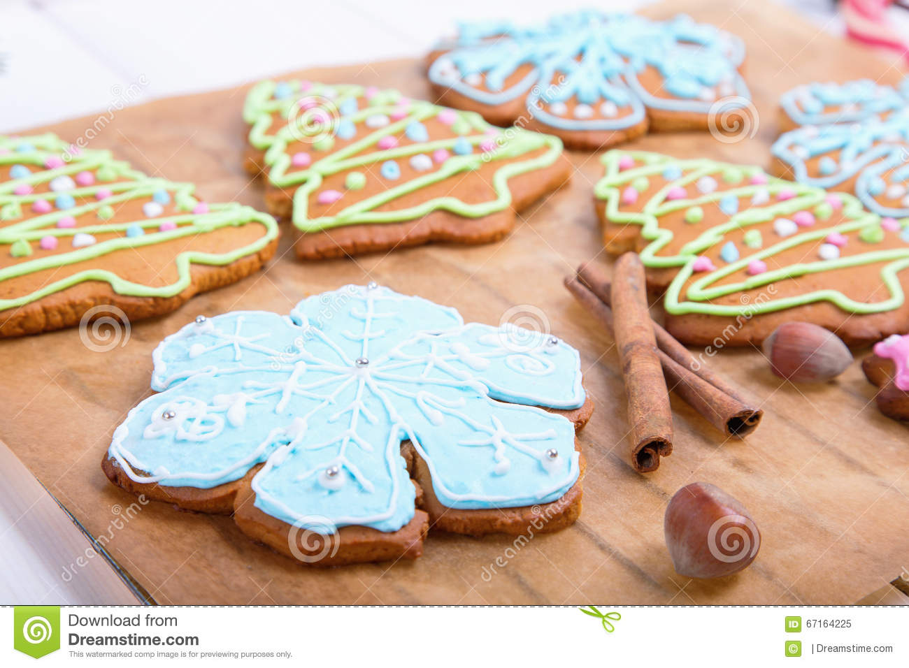 Christmas Cookies, Decorated Sugar And Gingerbread In Tree ...