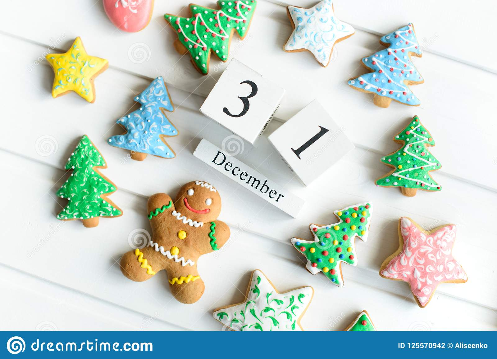 Christmas Cookies With Festive Decoration And Winter Calendar On ...