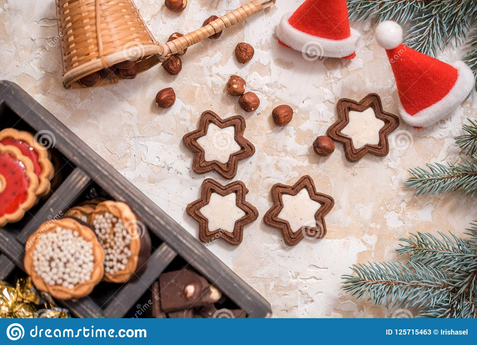 Christmas Cookies Fresh Baked Star Shaped Biscuits Stock Image