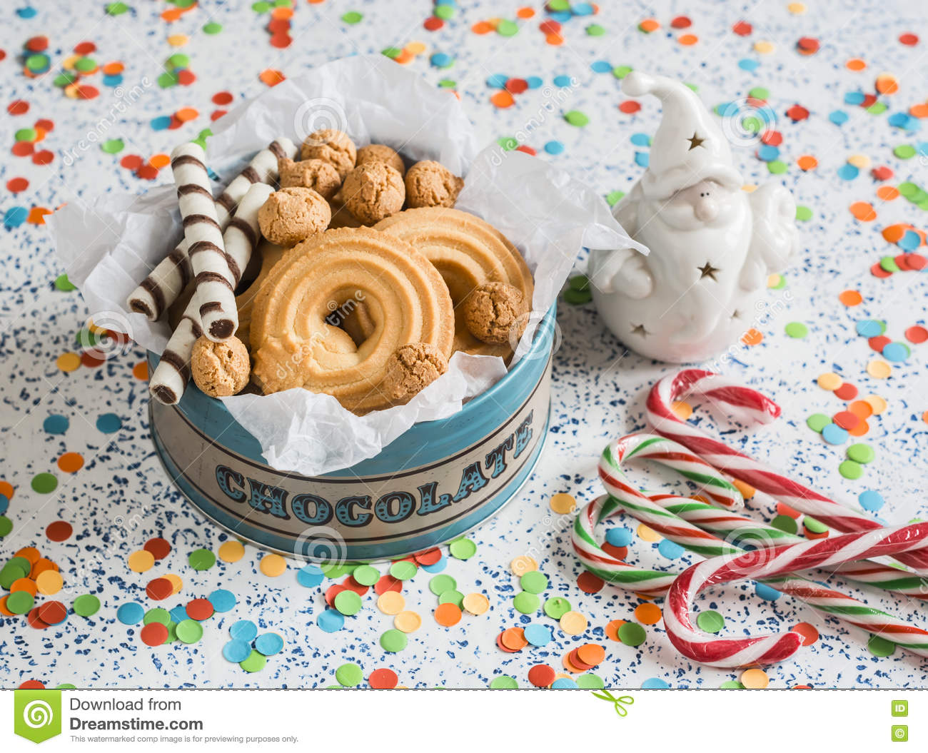 Christmas Cookies Gift Box. Cookies, Candies And Christmas Ornament ...