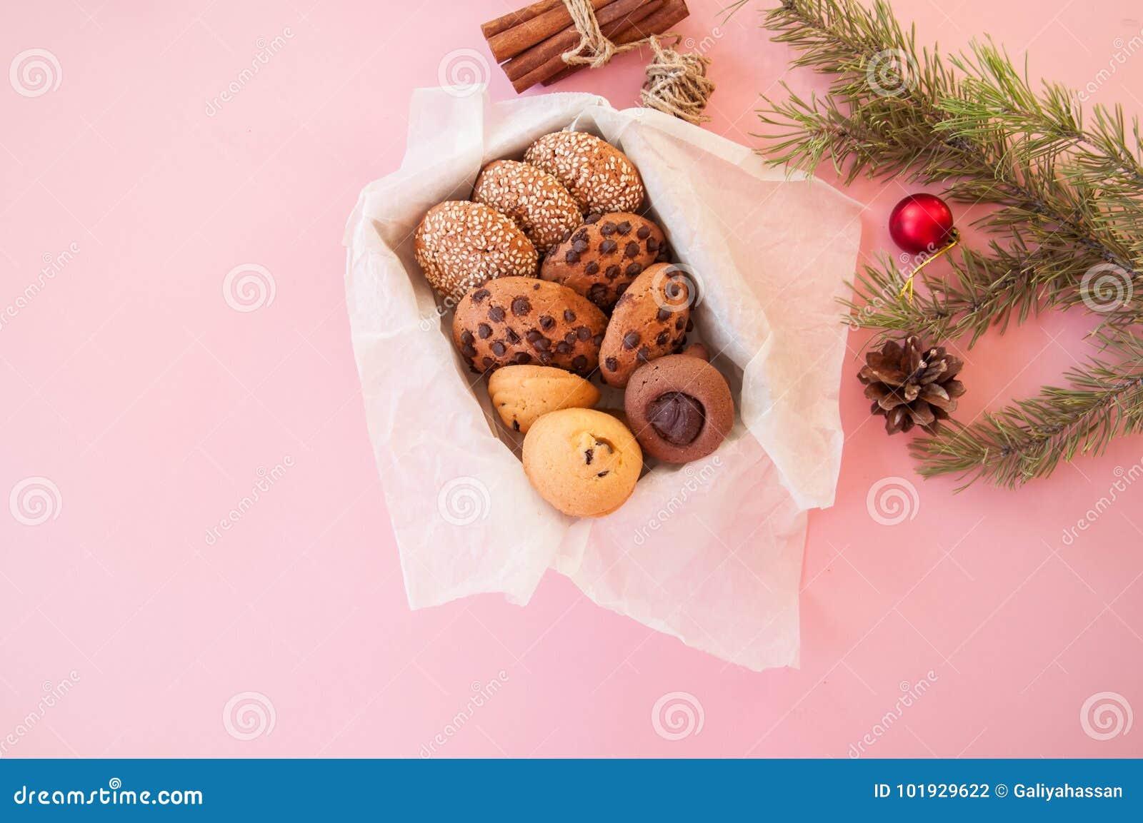 Christmas cookies gift box. Homemade festive baking concept, fir