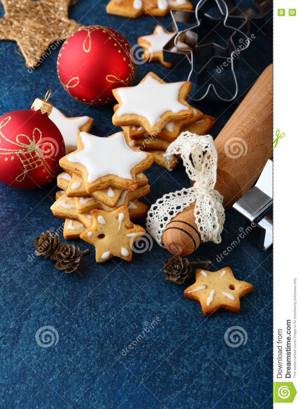 Rolling pin ornament - Christmas Cookies With Ginger Balls Cutters And Rolling Pin