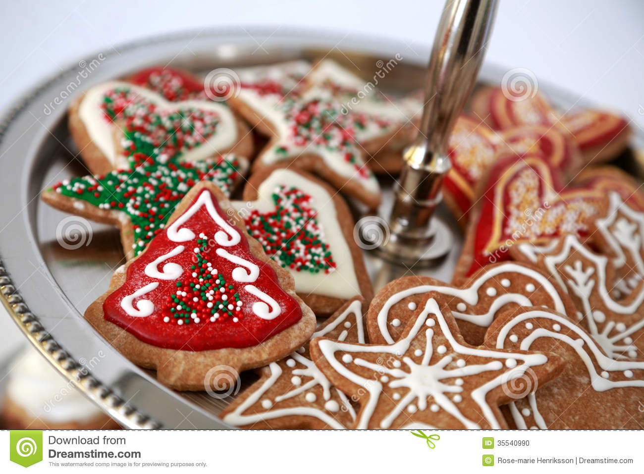 Gingerbread cookies decorated with icing for christmas