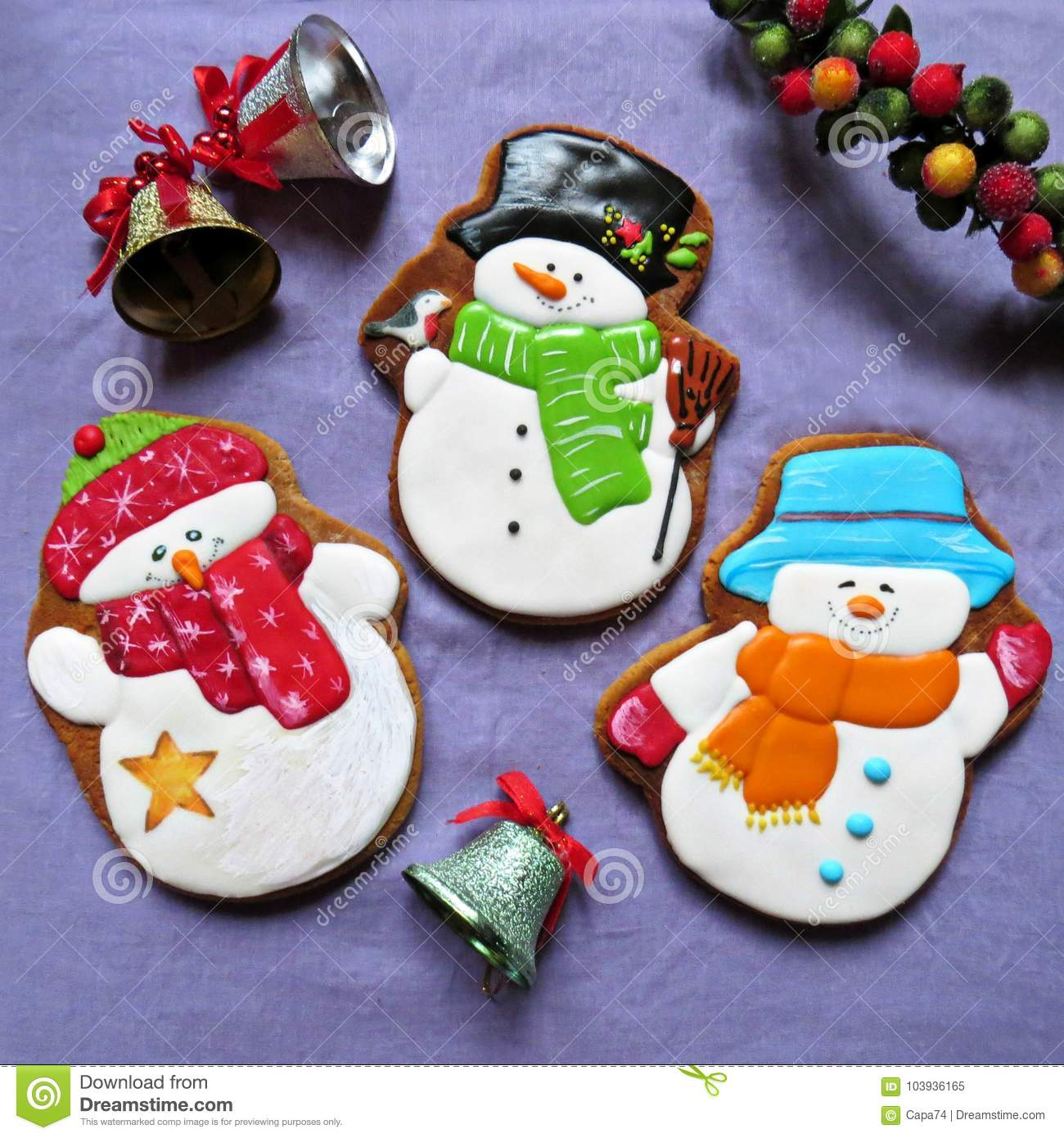 Christmas Cookies Gingerbread For New Year Snowman Stock Image