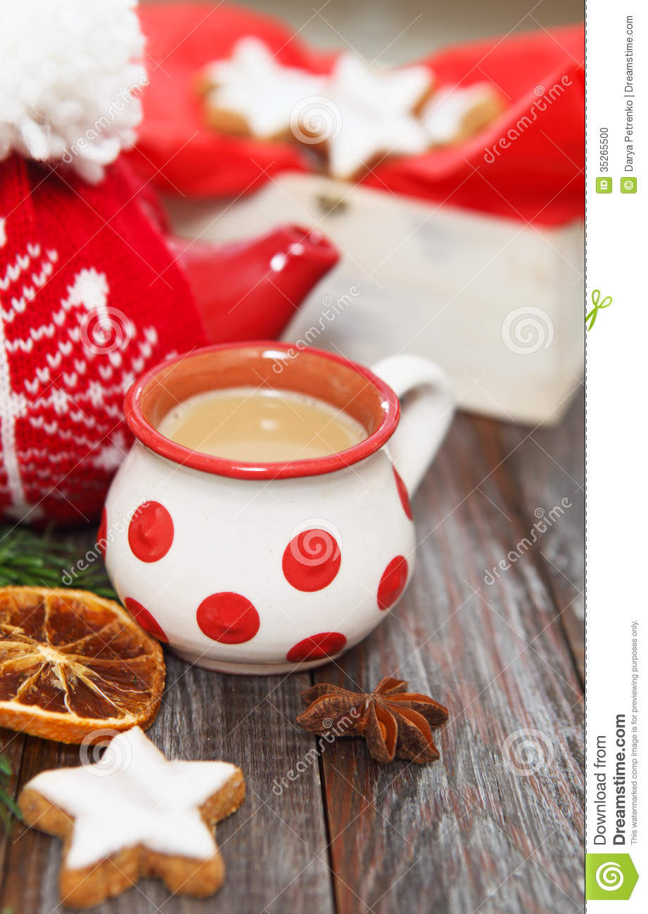 Christmas Cookies With Hot Chocolate Stock Photo Image