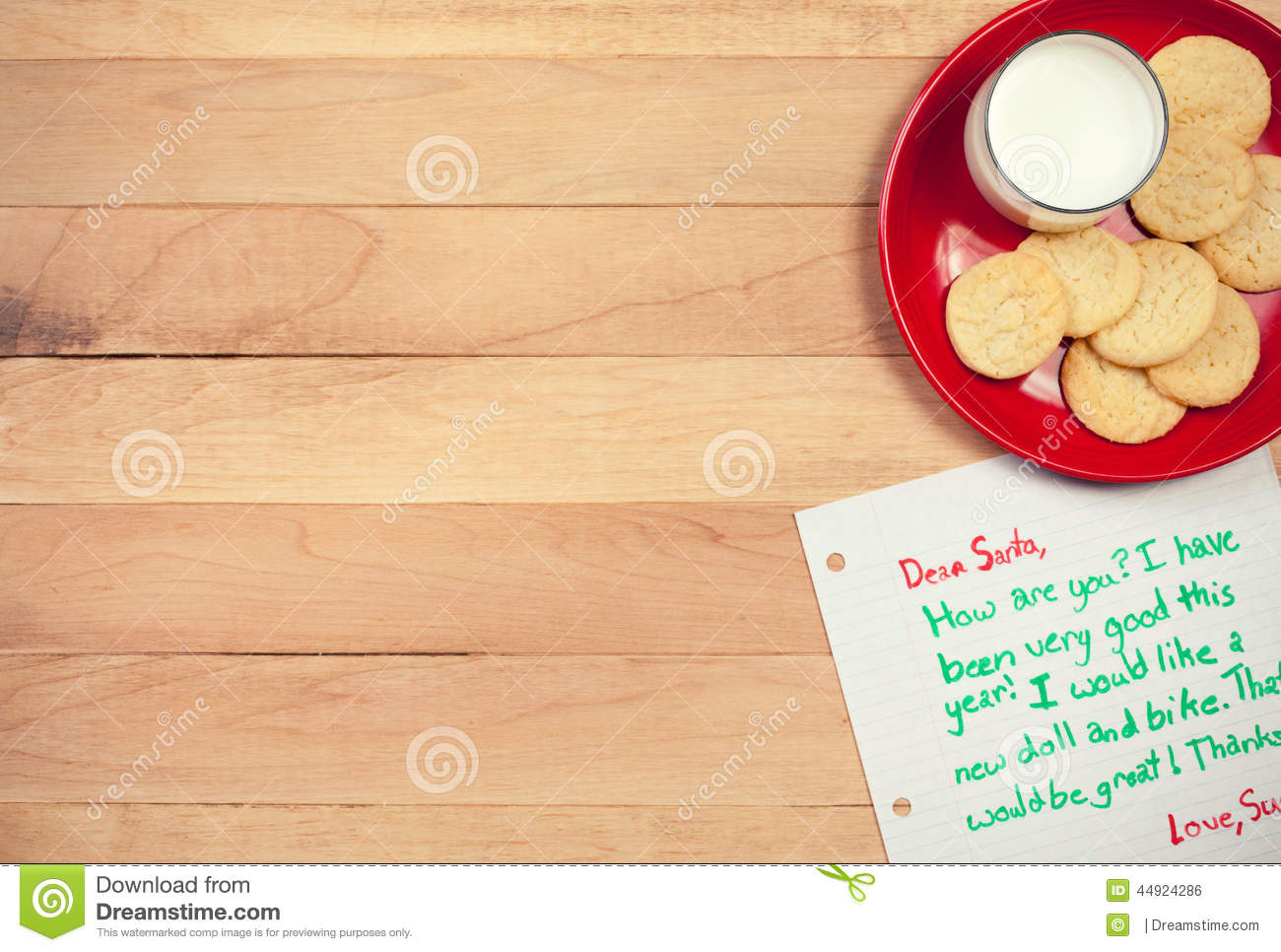 christmas cookies and letter to santa stock photo image of note