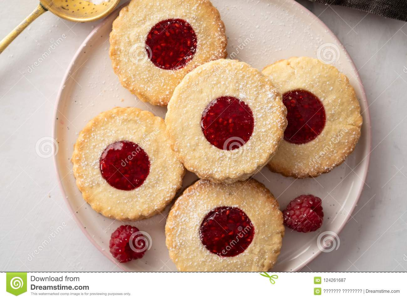 Christmas Cookies Linzer Cookies With Raspberry Jam On White Table