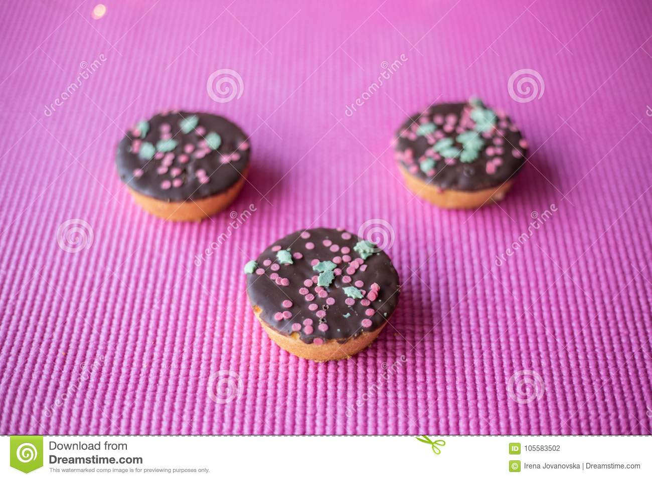 Christmas Cookies On Pink Background Stock Photo Image Of